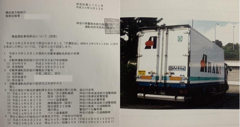 新木商事ドライバー違反歴とトラック